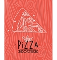 Poster slice pizza wood coral vector image