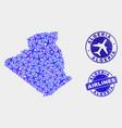 aerial mosaic algeria map and grunge seals vector image vector image