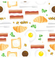 breakfast seamless pattern in flat cartoon style vector image vector image