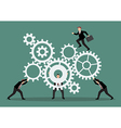 Business teamwork with mechanism system vector image vector image