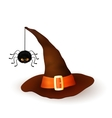 Cartoon Halloween 3d witch hat with hanging spider vector image