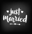 chalkboard blackboard lettering just married vector image