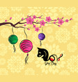 chinese new year 2018 lantern and blossom vector image vector image