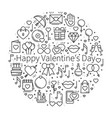 circle with love symbols in line style love vector image vector image