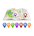 city map street view with labels or pins gps vector image vector image