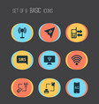 communication icons set with wifi 4g smartphone vector image vector image