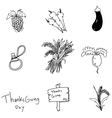 Doodle Thanksgiving vegetable set vector image