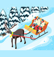 family winter holiday sleigh vector image