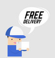 free delivery service man courier with a box vector image