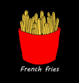 french fries on black background vector image vector image