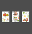 fruits dessert minimal one line poster wall vector image