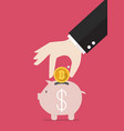 hand collect the target in piggy bank vector image vector image