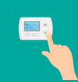 hand is pushing button to climate control panel vector image