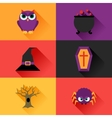 Happy halloween icon set in flat design style vector image vector image