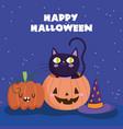 happy halloween in pumpkin hat night stars vector image vector image