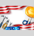 happy labor usa day poster industrial tools vector image vector image