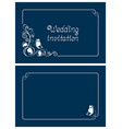 horizontal blue wedding and save the date cards vector image