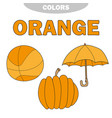 learn colors - orange worksheet game for kids vector image vector image