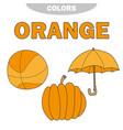 learn colors - orange worksheet game for kids vector image