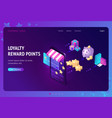 loyalty program with bonus points landing page vector image vector image