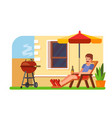 man lying with a beer on a lounger bbq vector image vector image