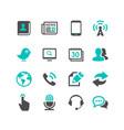 media and communication icons set dark gray vector image