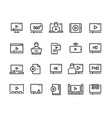 online player line icons video streaming online vector image vector image
