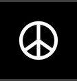 peace sign icon on black background black flat vector image vector image