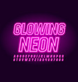 pink glowing neon font vector image