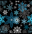 seamless winter pattern different snowflakes vector image vector image