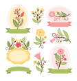 set floral bouquets and romantic frames vector image vector image