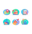 set icons with sale bulding house map contract vector image