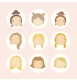 Set of 9 cartoon girls faces vector image