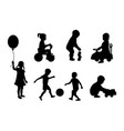 set silhouettes children playing vector image