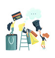 small girl chacacters enjoy shopping vector image