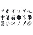 sport rhythmic gymnastics icons set simple style vector image vector image