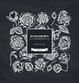 square floral design with chalk roses vector image