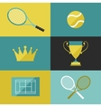 Tennis icon set in flat design style vector image vector image