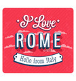 vintage greeting card from rome vector image vector image