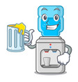 with juice water cooler with plastic bottle vector image