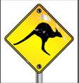 yellow kangaroo sign vector image vector image