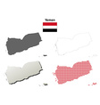 Yemen outline map set vector image vector image