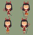 halloween red devil girl vector image