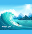 surfer and big wave vector image