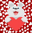 Teddy bear with red heart vector image