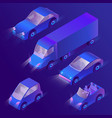3d isometric violet cars with headlights vector image vector image