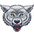 angry wolf head mascot with open mouth vector image vector image