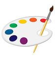 Art palette with paintbrush vector image
