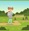 beautiful smiling girl with backpack walking in vector image vector image