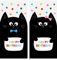 black cat family couple with bow flyer poster set vector image